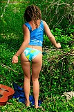 Hairy hippie amateur stripping outdoors