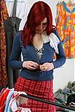 Krystin in her schoolgirl uniform