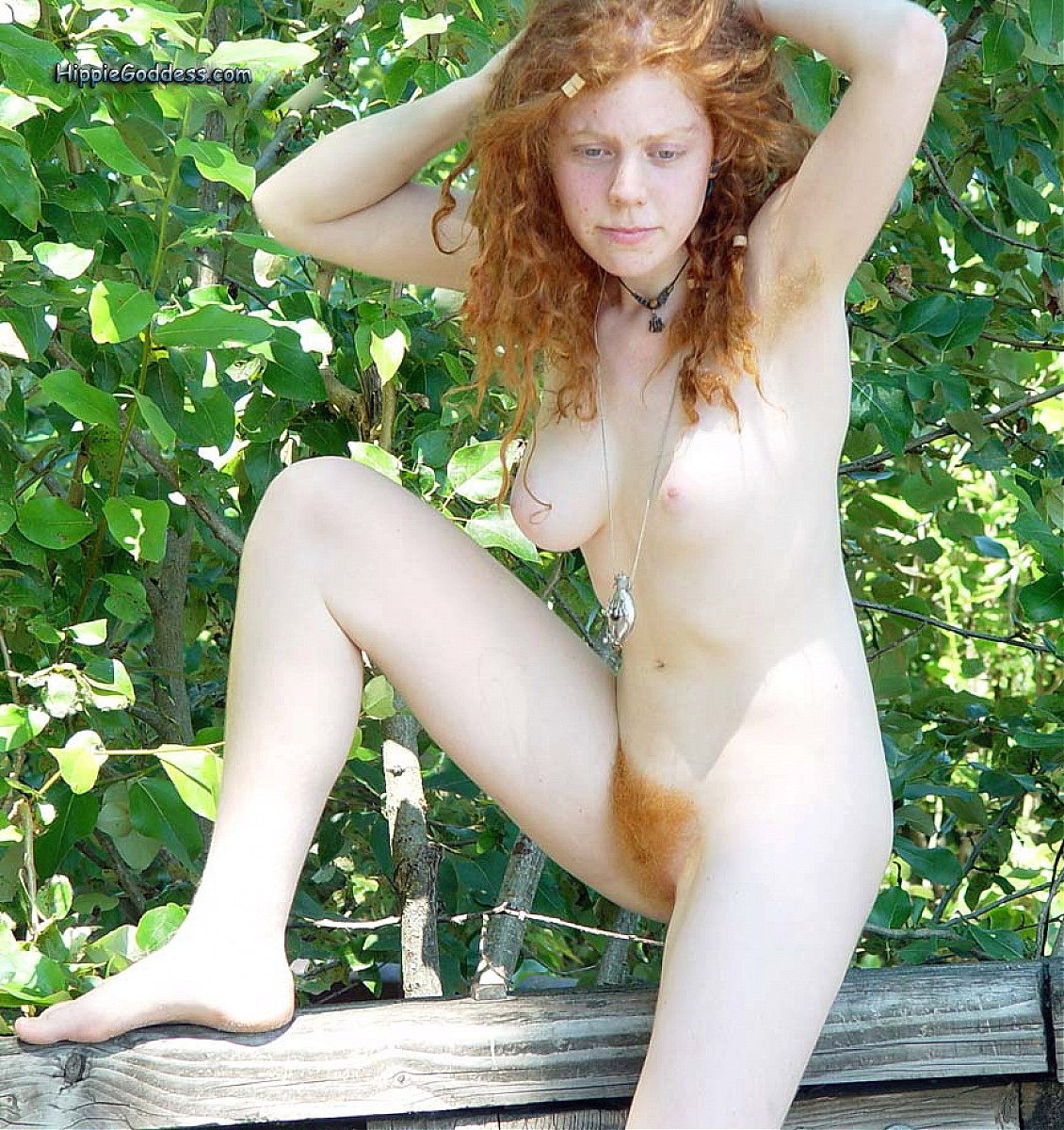 Bush red naked redhead